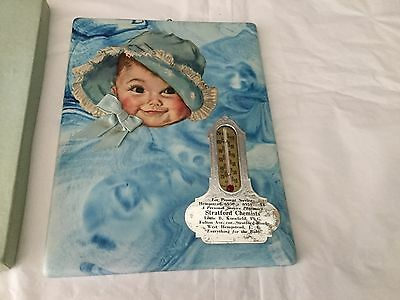 1937 Antique Vintage ADVERTISING THERMOMETER Baby Boy birth record