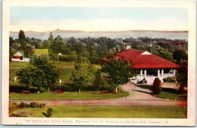 St. Andrews by-the-Sea NB Canada Postcard Casino & Tennis Courts ALGONQUIN HOTEL
