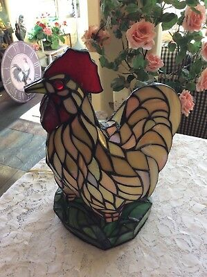 "Stained Glass Tiffany Style Large  Country Rooster Chicken 13 1/4"" Lamp Light"