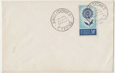 Stamp Cyprus 30m EUROPA on plain cover ANGLISIDHES rural postal service postmark