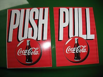 Coca Cola  Push/pull  Decal For Glass Doors Contour Btl Button Disk 5 Inx7 In