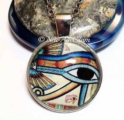 Eye of Horus_Glass Pendant on Chain Necklace_RA Egyptian Ancient Symbol_N346