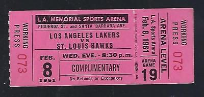 1960-61 Nba St. Louis Hawks @ Los Angeles Lakers Full Unused Basketball Ticket
