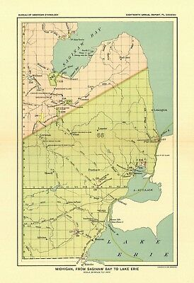 1896 map Michigan Saginaw Erie United States Indian land cessions POSTER 31