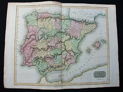 1814 THOMSON. Big Map of Spain and Portugal, Balearic Isles, Espana...Cm 72 X 54