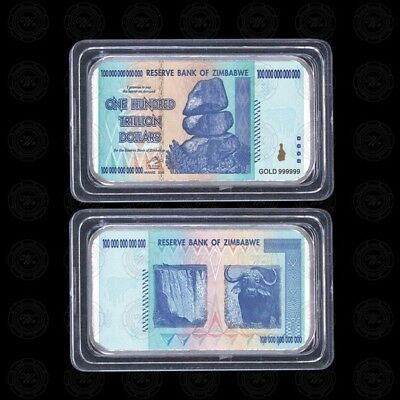 100 Trillion Zimbabwe Dollars Silver Plated Bullion Bar Ingot (Zm1SB)