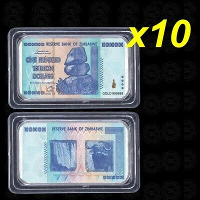10 Pieces 100 Trillion Zimbabwe Dollars Silver Plated Bar Ingot (Zm1SB10)