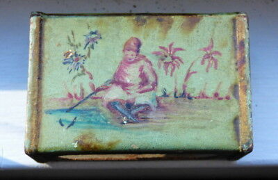 True Vintage Metal Matchbox Holder Cover Hand Painted Woman Fishing Water's Edge
