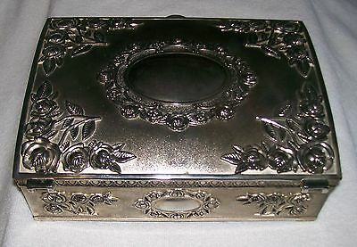 Vintage Godinger Silver Plated Ornate Embossed Jewelry Box Burgundy Interior