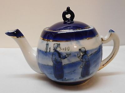 Blue and White Porcelain Small Teapot Boys Smoking Pipe Sailboat Holland Vintage