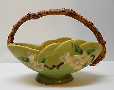 Basket Flowering Tree Wood Branch Handle Scalloped Footed USA Roseville Pottery