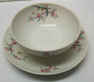 Limoges Attached Serving Plate with Bowl with Bird Butterflies Flowers Vintage