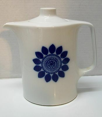 Pitcher Teapot Blue and White Flower Germany Lorenz Hutschen Reuther Vintage