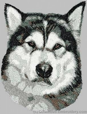 Embroidered Short-Sleeved T-shirt - Alaskan Malamute DLE3659  Sizes S - XXL