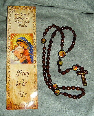 LADY GUADALUPE & POPE JOHN PAUL II Wood 18in ROSARY w/bookmark Catholic  Jesus