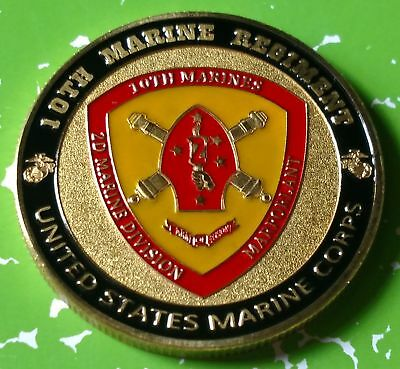 USMC MARINE CORPS 10th MARINE REGIMENT CHALLENGE #1210 COLORIZED ART ROUND