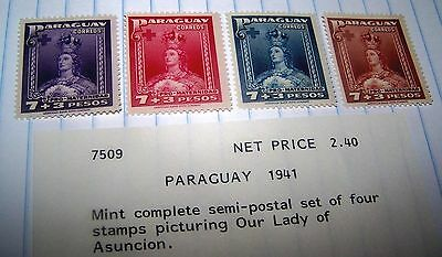 Paraguay 1942 STAMP SET LADY OF ASUNCION MNH LOT 45