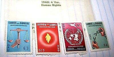 Paraguay 1960 Stamp Set Human Rights Mnh Lot 204