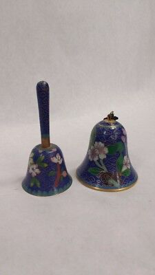 Two Cloisonne Bells CHINESE EXPORT Brass JINGFA Blue Bottom Skirt Flower VINTAGE
