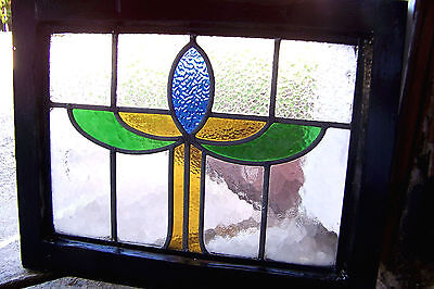 21x17 Old Antique Vtg Deco Black Lacquer Wood Trim Leaded Stained Glass Window