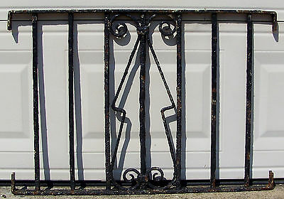 34x24 Old Vtg Black Wrought Cast Iron Fence Gate Small Section Heavy Gage Garden