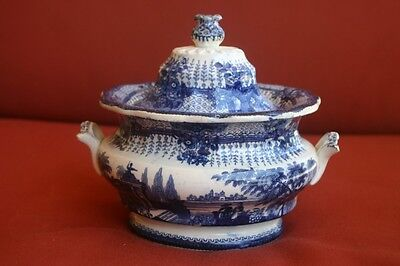 Large 1800s Grecian Antique Flow Blue Sugar Bowl With Cover