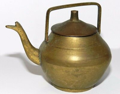Antique Vtg Authentic Israel Handmade HEAVY Miniature Tea Pot Brass Copper