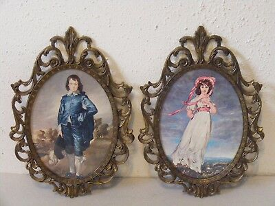 "Vtg 2pc 10"" ornate brass oval frame Blue Boy & Pinkie prints made in Italy ~D"