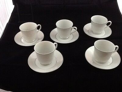 Set of 5 CARLTON PLYMOUTH Cup and Saucer White Scroll Silver Trim