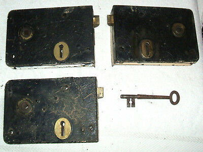 3 Reclaimed Vintage Metal Rim Locks with latches No keeps Key for two locks