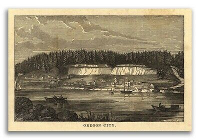 Oregon City OR 1850s Historic Panoramic Town Map - 16x24