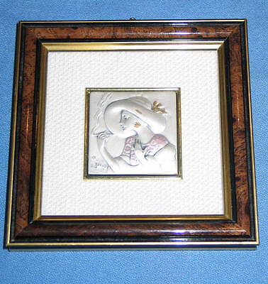 Vintage CADEOR Italian 925 Sterling High Relief Victorian Lady Framed Wall Art