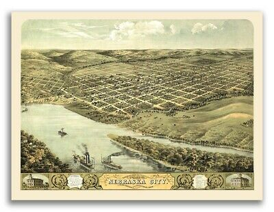 1868 Nebraska City Nebraska Vintage Old Panoramic City Map - 18x24