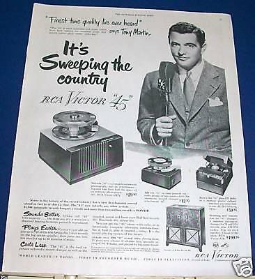 """1950 RCA Victor """"45"""" sweeping country Tony Martin Ad"""