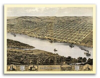 Leavenworth Kansas 1869 Historic Panoramic Town Map - 20x28