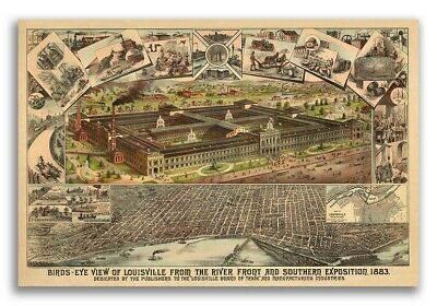 Louisville KY 1883 Historic Panoramic Town Map - 16x24