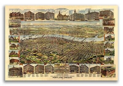 Portland OR 1890 Historic Panoramic Town Map - 16x24