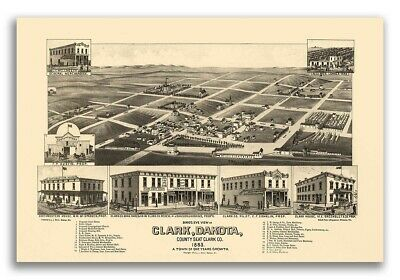 1883 Clark SD Vintage Old Panoramic City Map - 16x24
