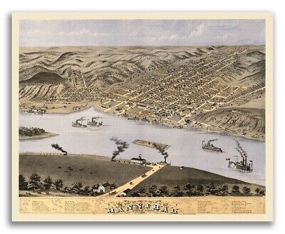1869 Hannibal Missouri Vintage Old Panoramic City Map - 24x30
