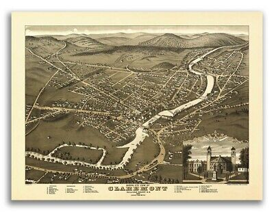 Bird's Eye View 1877 Claremont New Hampshire Vintage Style City Map - 24x32