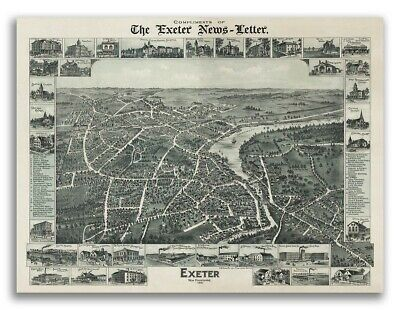 Bird's Eye View 1896 Exeter New Hampshire Vintage Style City Map - 24x32