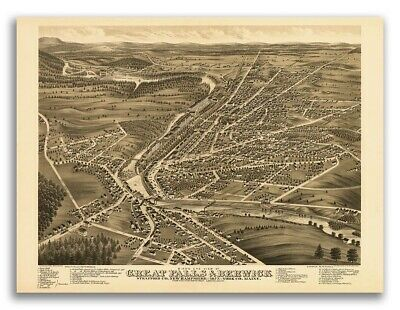 Bird's Eye View 1877 Great Falls NH Vintage Style City Map - 24x32