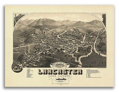 1883 Lancaster NH Vintage Old Panoramic City Map - 18x24