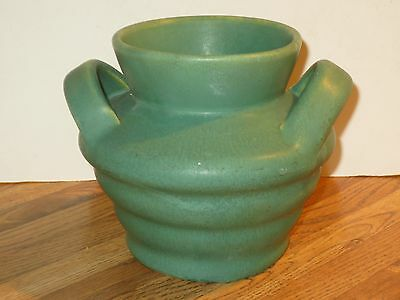 Camark Arkansas Pottery Matt Green Two Handle Arts & Crafts Vase