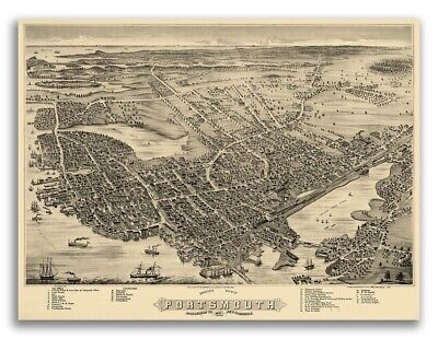 Bird's Eye View 1877 Portsmouth NH Vintage Style City Map - 24x32