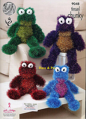 King Cole Knitting Pattern For Tinsel Chunky Frog Toys In 2 Sizes 9048