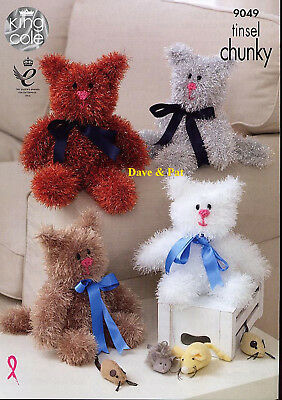 King Cole Knitting Pattern To Make Tinsel Chunky Cats Toys 2 Sizes  9049