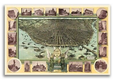 1896 St. Louis Missouri Vintage Old Panoramic City Map - 16x24