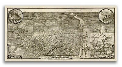 1876 St. Louis Missouri Vintage Old Panoramic City Map - 24x48