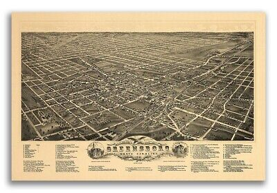 1891 Greensboro NC Vintage Old Panoramic City Map - 16x24